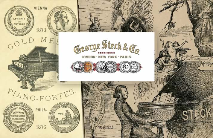 Composite of George Steck Piano Company with the logo, Wagner playing the piano, and their gold medals.