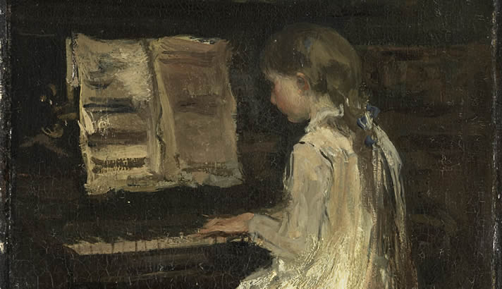 Painting of a young girl playing the piano by Jacob Maris, c. 1879.