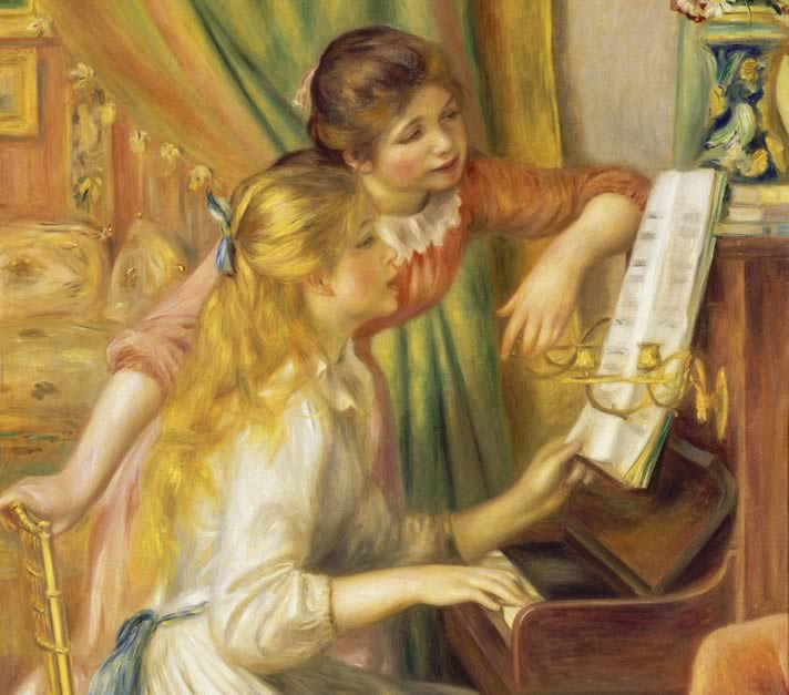 'Young Girls at the Piano.',painted by Pierre-Auguste Renoir in 1892, in the Musée d'Orsay, Paris.