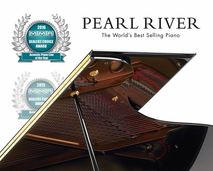 Partial view of a Pearl River grand piano, awarded for excellence in 2015 & 2016.