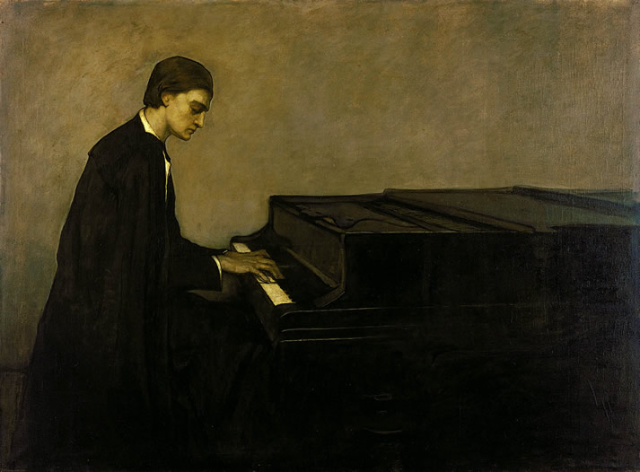 Painting of Renata Borgatti at the piano by Romaine Brooks in 1920.