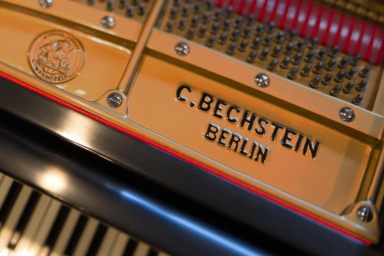Main Gallery Image: Close-up of front edge of the cast iron frame logo and medallion on a C. Bechstein grand piano.