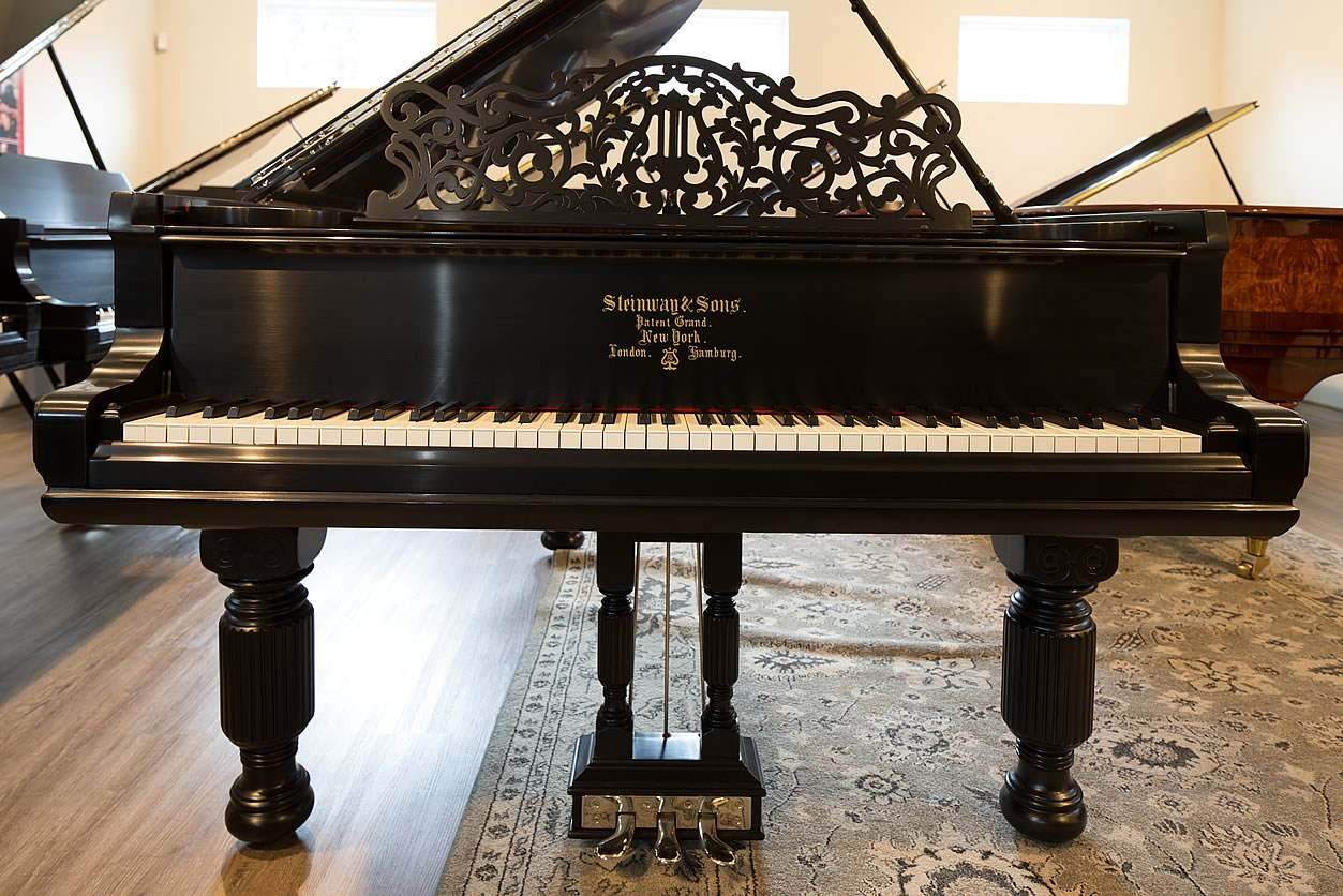 "Main Gallery Image: Wide of Steinway & Sons 6' 2"" Ebonized Satin Art Case parlor grand piano."