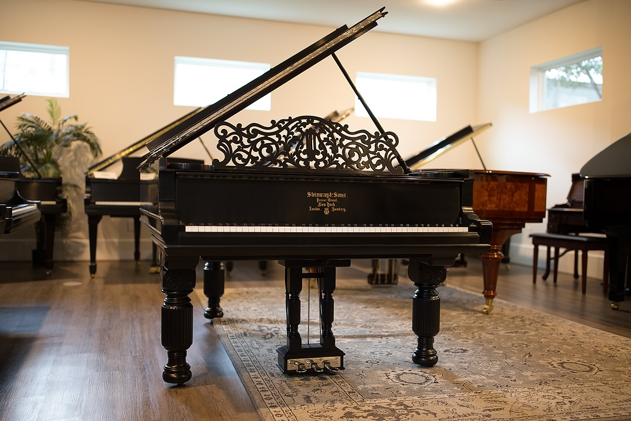 """Main Gallery Image: Wide of Steinway & Sons 6' 2"""" Ebonized Satin Art Case parlor grand piano."""