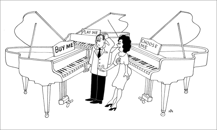 Illustration of a piano saleswoman and her confused customer.