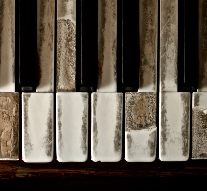 Close-up of degraded piano keys.
