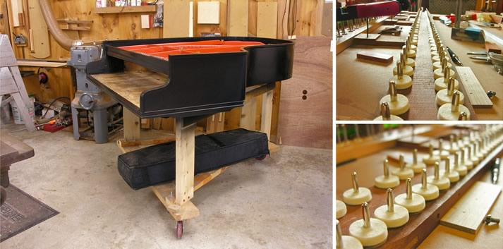 Montage of the restoration of a grand piano.