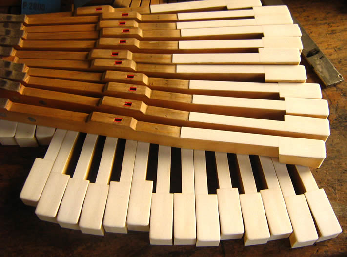 Two Stacks of piano keys.