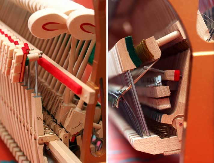 Diptych of the action for an upright piano.