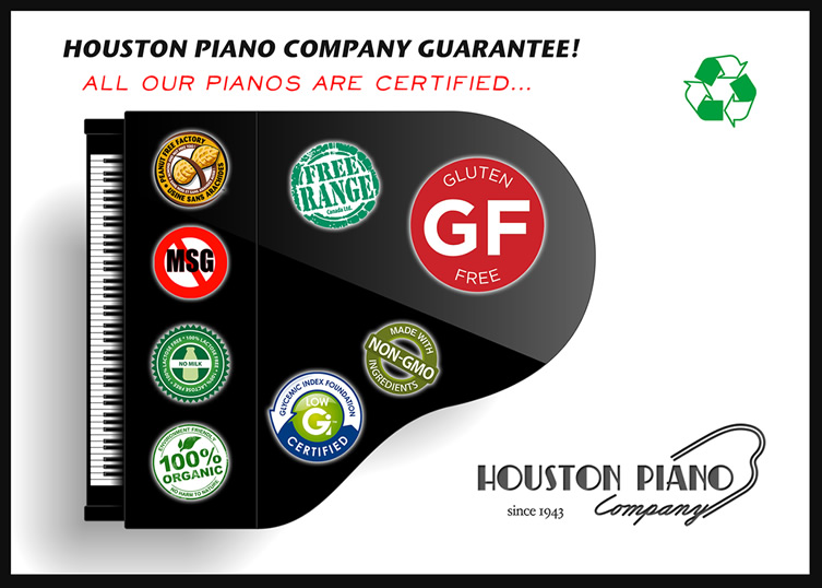 Digital image of Houston Piano Company logo with variety of stickers, such as GF and no MSG, etc.