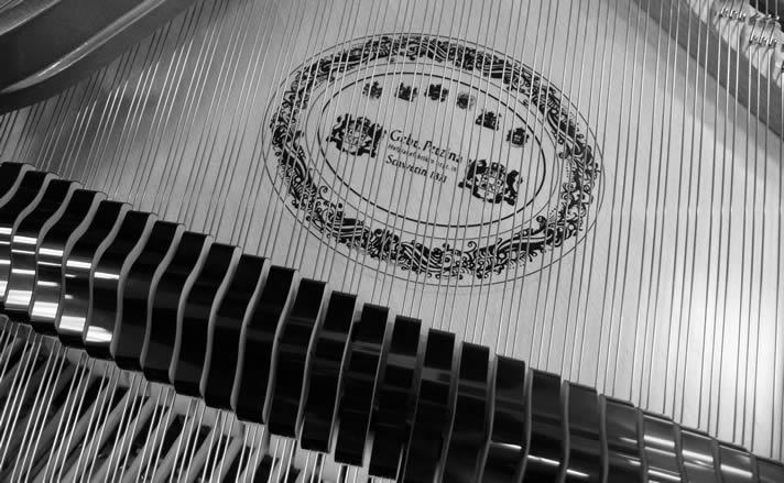 Soundboard for a Perzina grand piano.