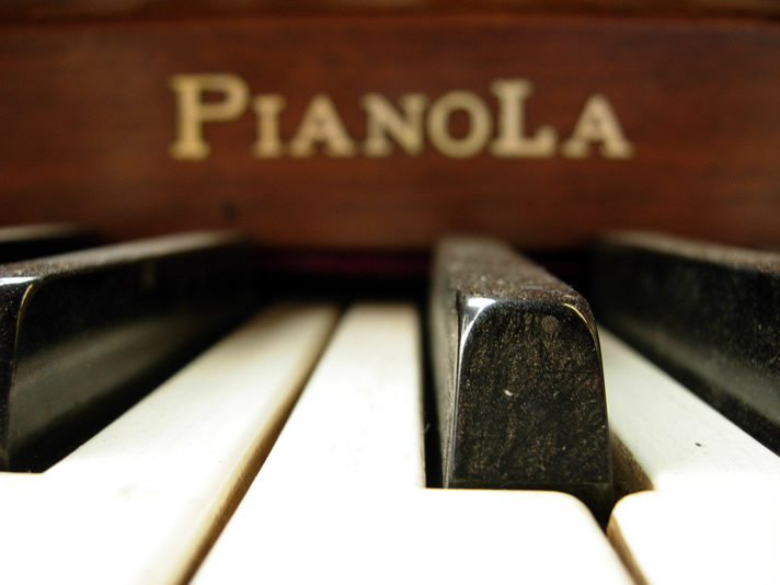 Black keys of the Pianola player piano.
