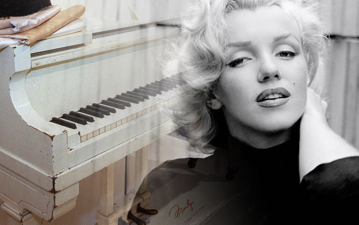 The white baby grand piano owned by Marilyn Monroe.
