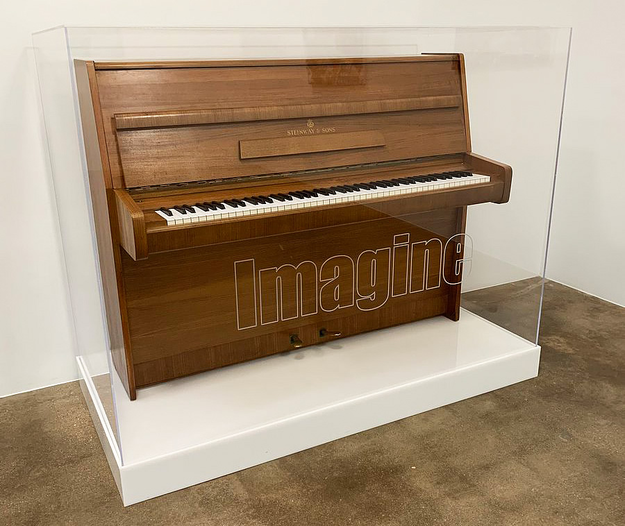 Photo of John Lennon's Steinway Model Z taken at the Goss-Michael Foundation in May, 2019.