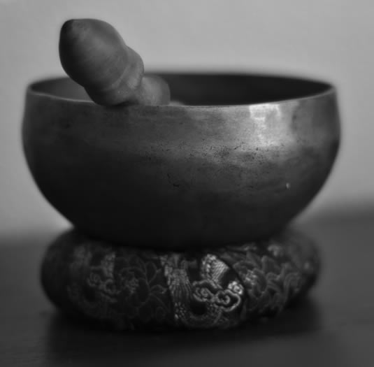 Close-up of a Tibetan or Himalayan singing bowl.