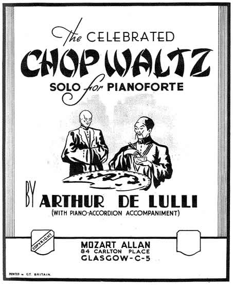 Cover of the sheet music for ' The Celebrated Chop Waltz' by Arthur De Lulli.