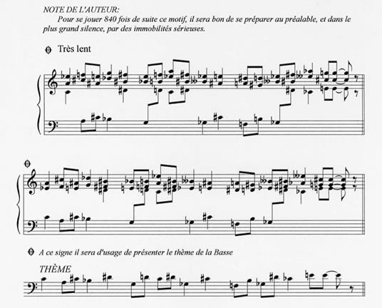 This musical score for 'Vexations' by Erik Satie, only has 180-notes.