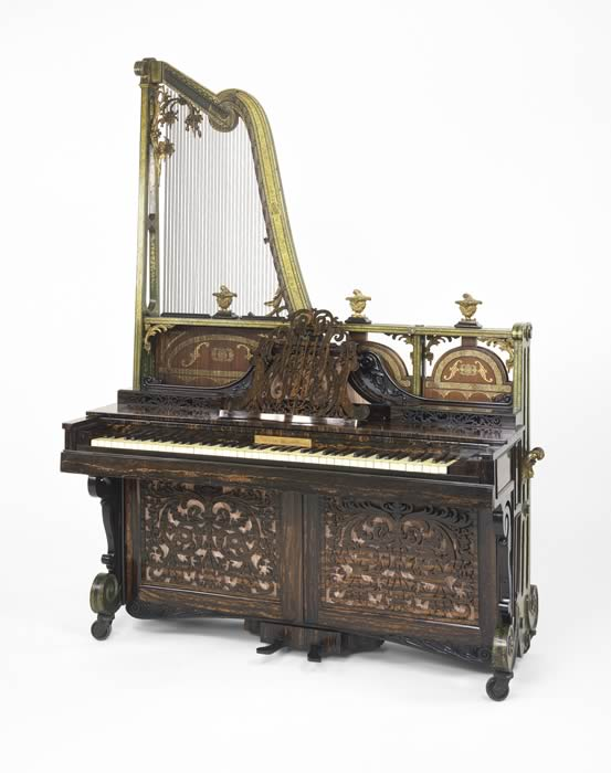 Euphonicon, an upright harp piano, invented by Dr. John Steward in 1841.