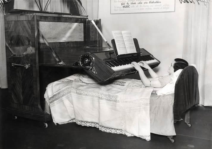 A piano created for bedridden people, 1935.