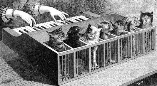 Illustration of a 'Cat Piano' from 1883.