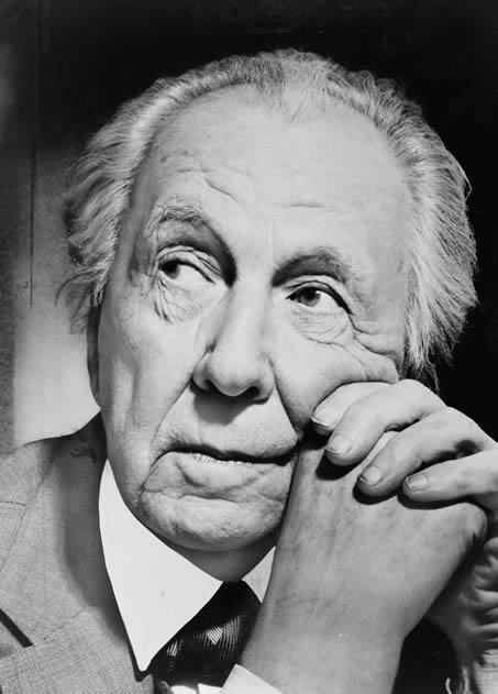 Portrait of Frank Lloyd Wright, photographed by Al Ravenna in 1954.