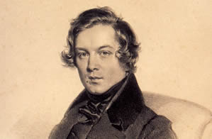 Detail of portrait of Robert Schumann, lithograph by Josef Kriehuber in 1839.