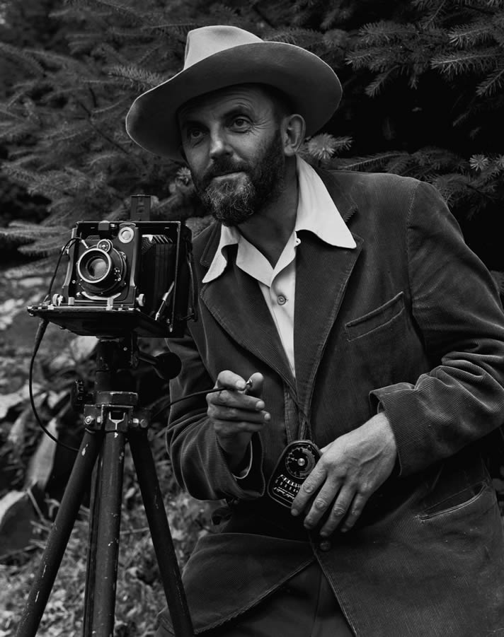 Portrait of Ansel Adams, photographed by Malcolm Greany, c. 1950.