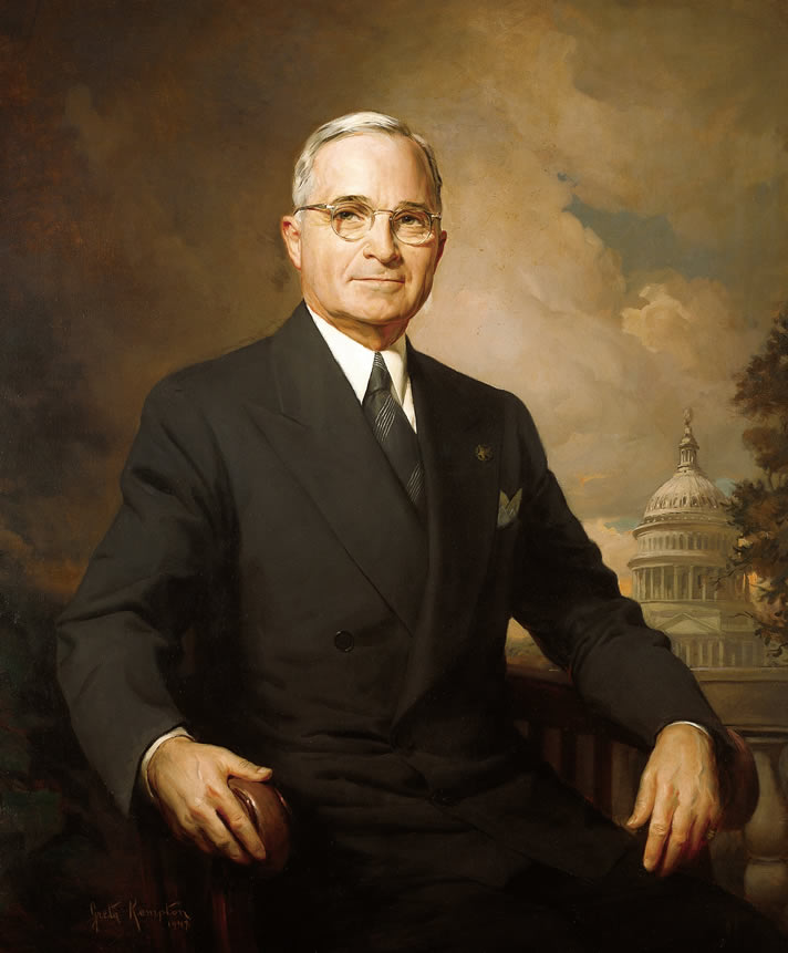 Presidential portrait of Harry S. Truman, painted by Greta Kempton in 1945.