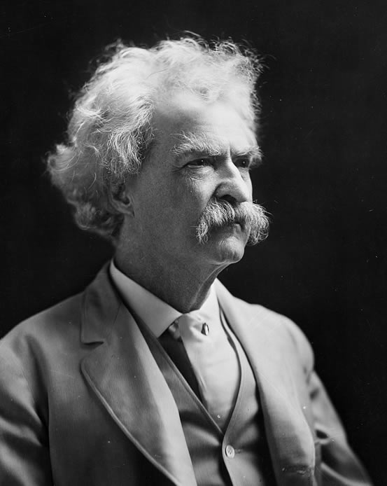 Portrait of Mark Twain, photographed by A.F. Bradley, c. 1907.