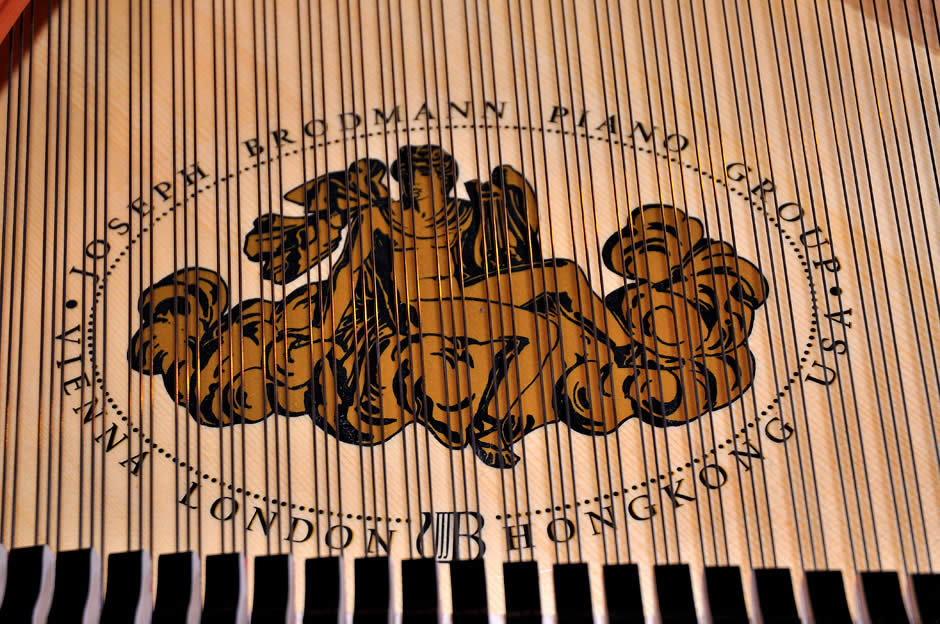 Close-up of the soundboard and logo beneath the strings for a Brodmann piano.