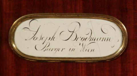Plaque reading 'Joseph Brodmann, Burger in Wien' (Citizen of Vienna).