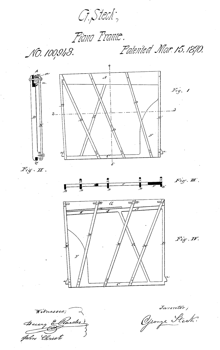 Schematic of the patent for George Steck's independent iron frame.