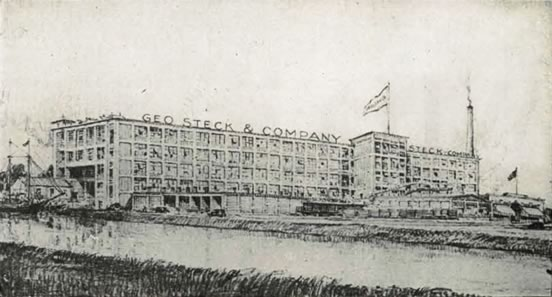 Photograph of the George Steck & Company piano factory on the Neponset River in Boston, Massachusetts.