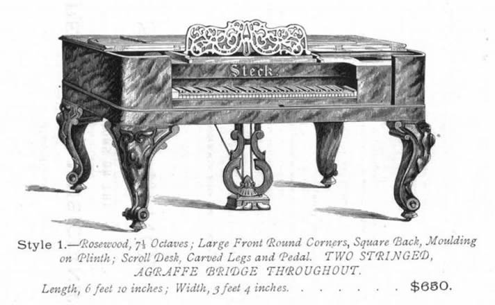 Illustration from a George Steck catalogue, featuring its grand piano, style 1.