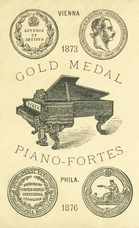 Poster illustration of the gold medals won for George Steck's piano-fortes.