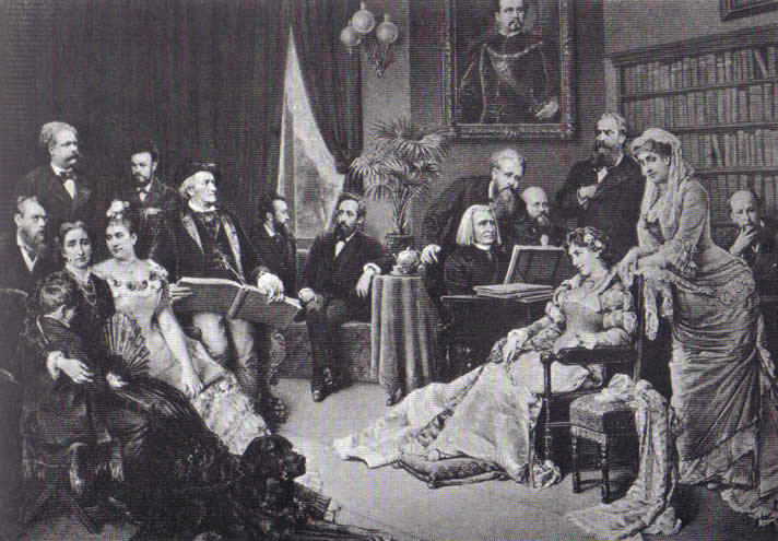 Painting of Franz Liszt playing for Richard Wagner and friends, 1882.