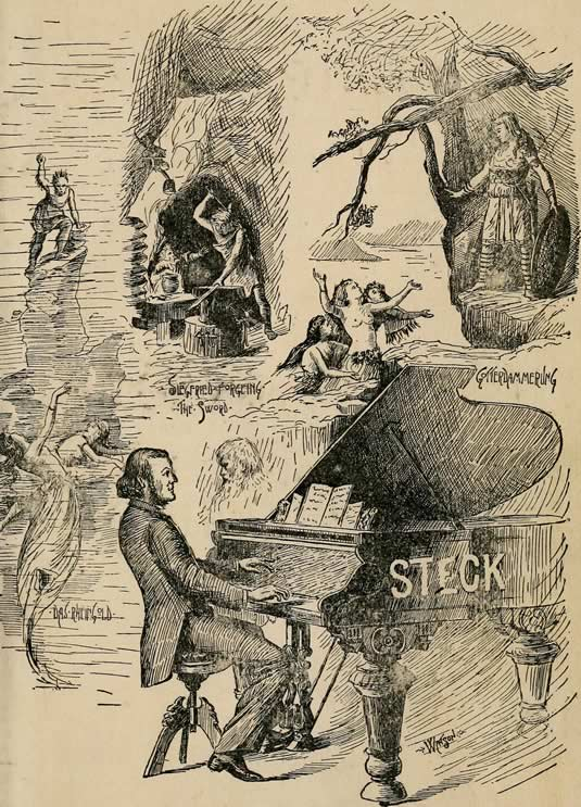 Poster illustrating Richard Wagner composing on a George Steck piano in 1889.