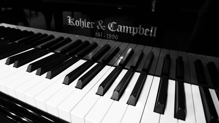 Detail of a Kohler & Campbell piano.