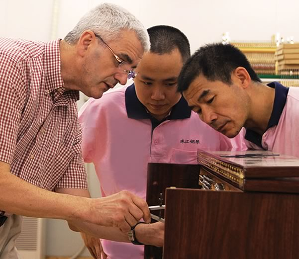 Stephen Mohler consulting technicians for the Kayserburg piano.