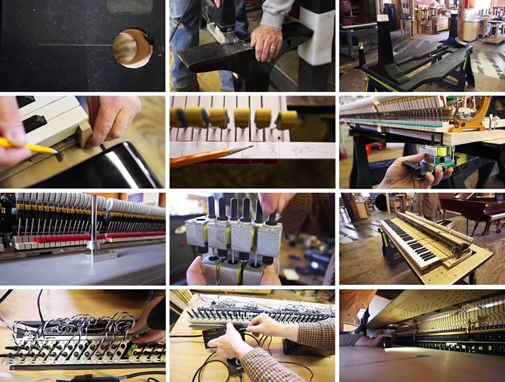 Montage of PianoDisc installation.