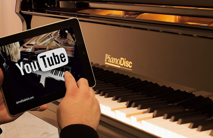 PianoDisc grand showing YouTube integration on the iPad.