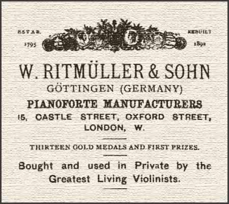 Advertisement listed in 'The Strad' for W. Ritmüller & Sohn's pianofortes.