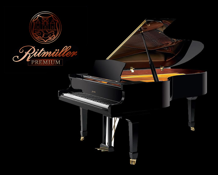 Ritmüller advertisement showcasing their Premium line of grand pianos.