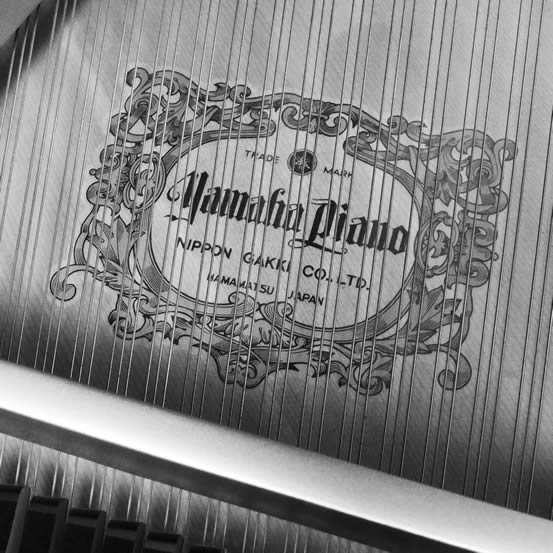 Logo on sounboard for Yamaha piano.