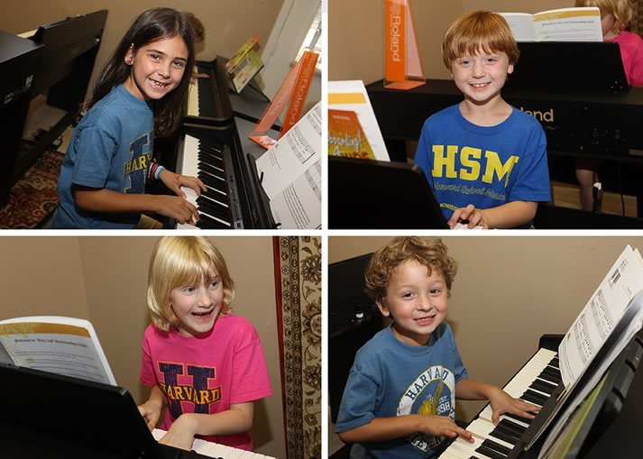 Montage of children learning the piano at HPC School of Music summer camp.