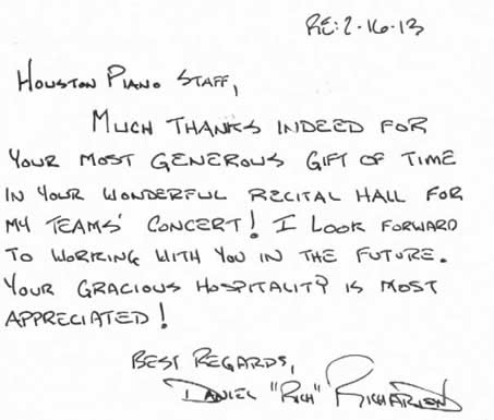 Letter from Daniel Richardson, thanking Houston Piano Company for its recital hall.