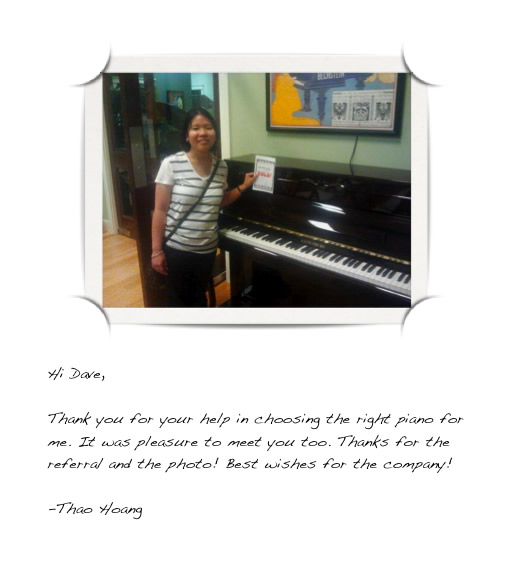 Letter with photograph thanking Dave of Houston Piano Company for helping to choose the right piano.