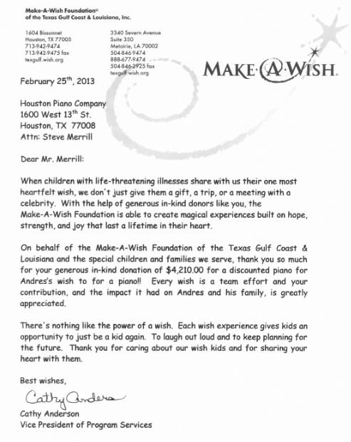 Letter from Cathy Anderson from Make-A-Wish Foundation, thanking Houston Piano Company for its in-kind donation.