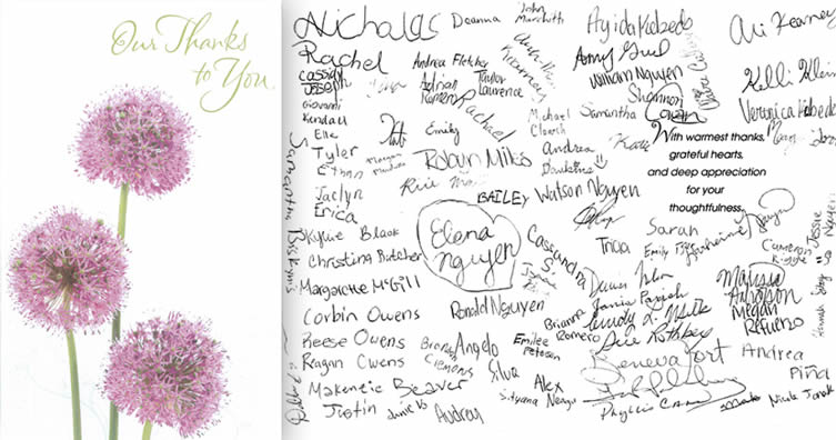 Purple/pink flower thank you card from the students of Pearland Music Teachers' Association.