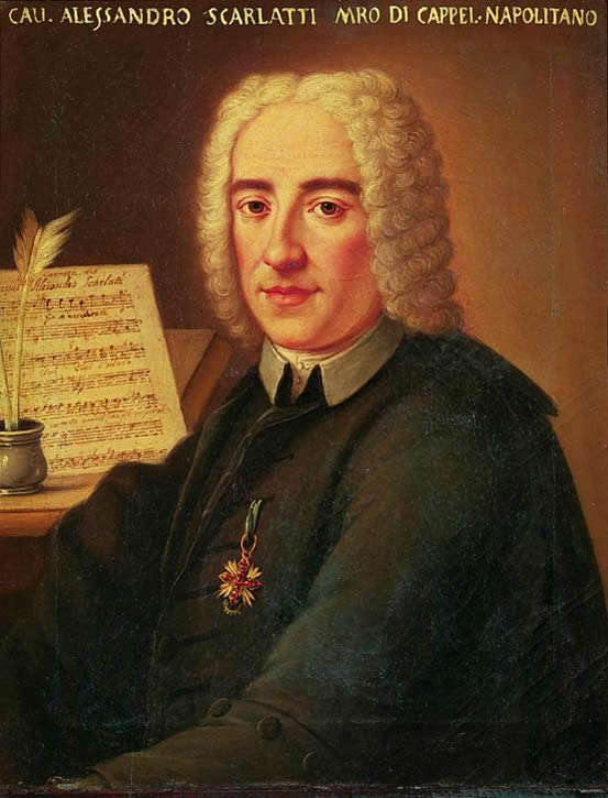 Portrait of Alessandro Scarlatti, 18th century, in the Civico Museo Bibliografico Musicale, Bologna, Italy.